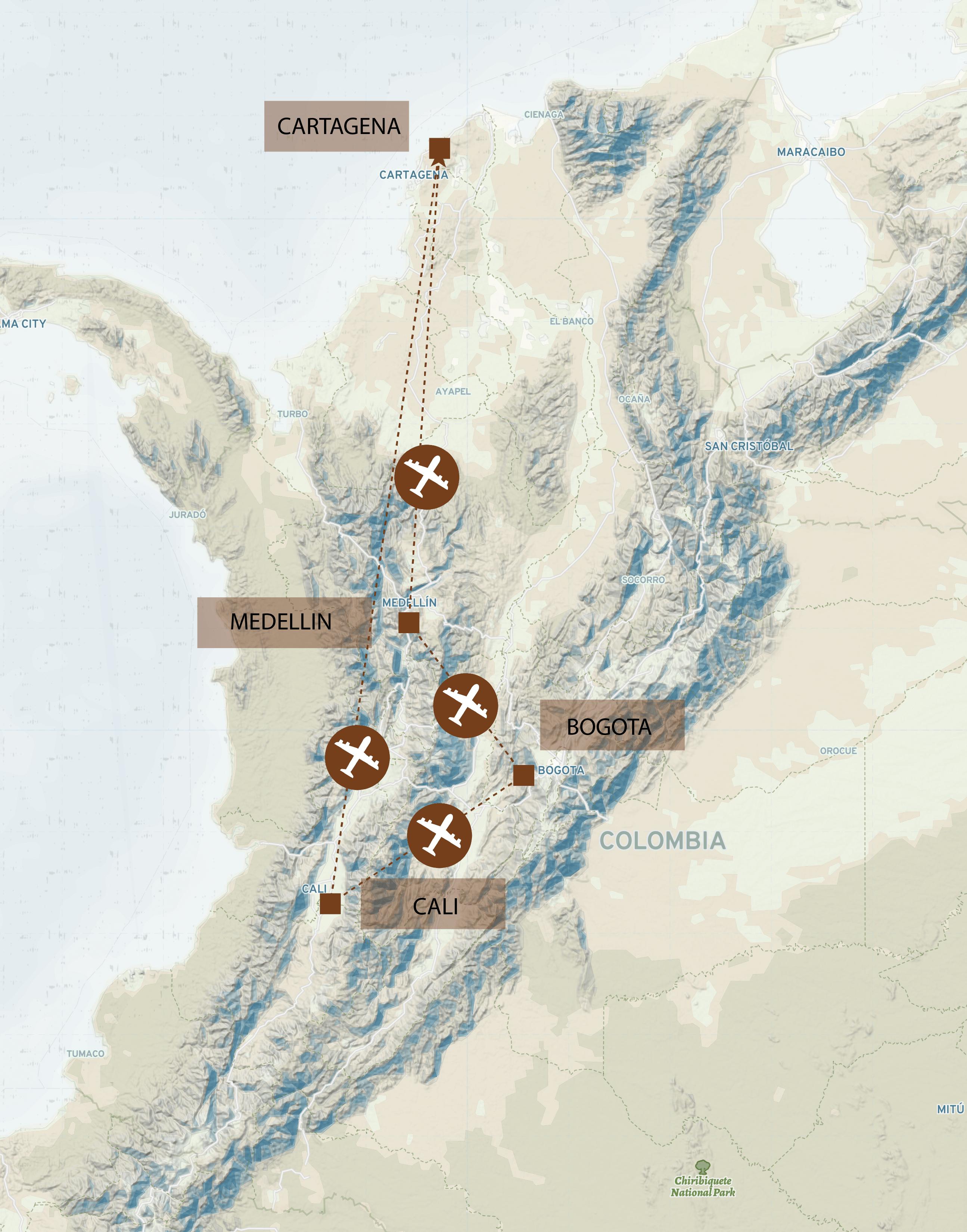 Kolumbien_Route_Map