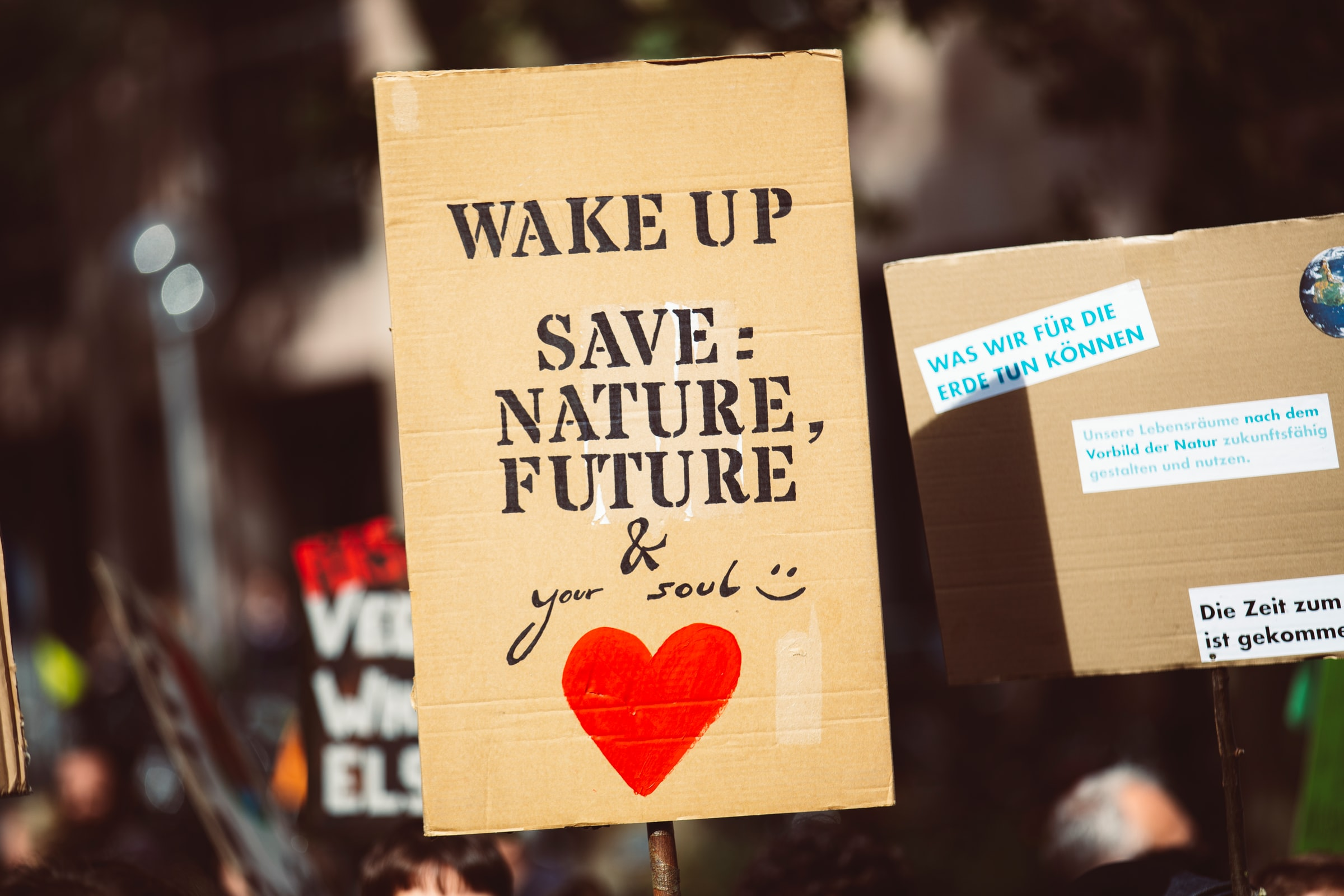 Nachhaltig reisen Demoschild Wake up - Save nature future and your soul