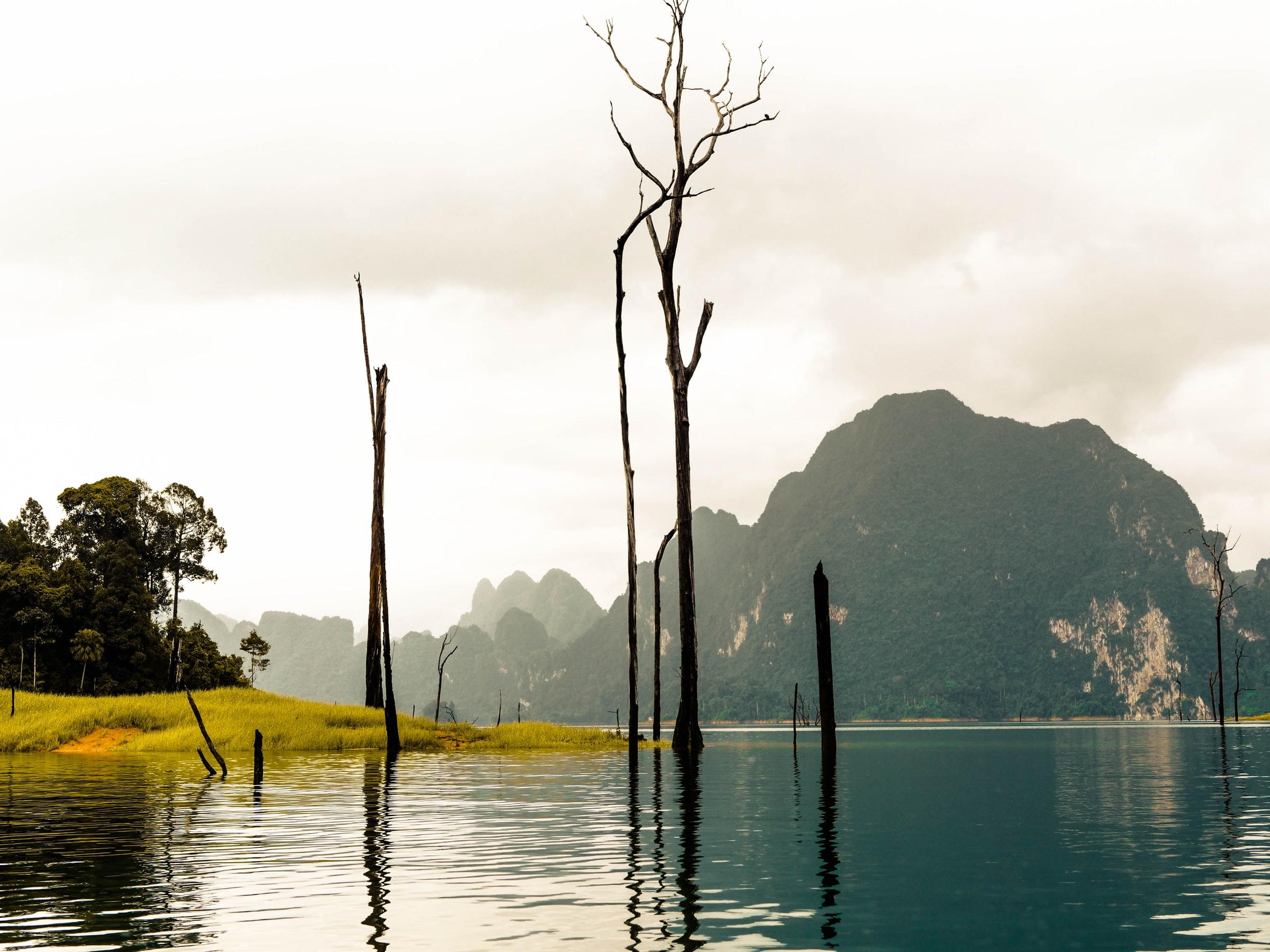 Thailand Regensaison Wasser Bäume Berge