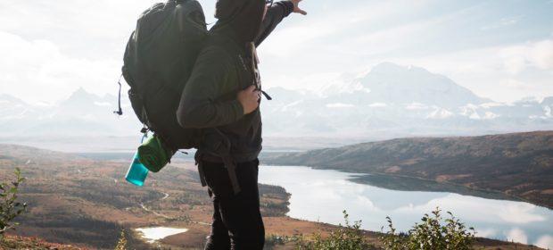 Backpacker beim Wandern