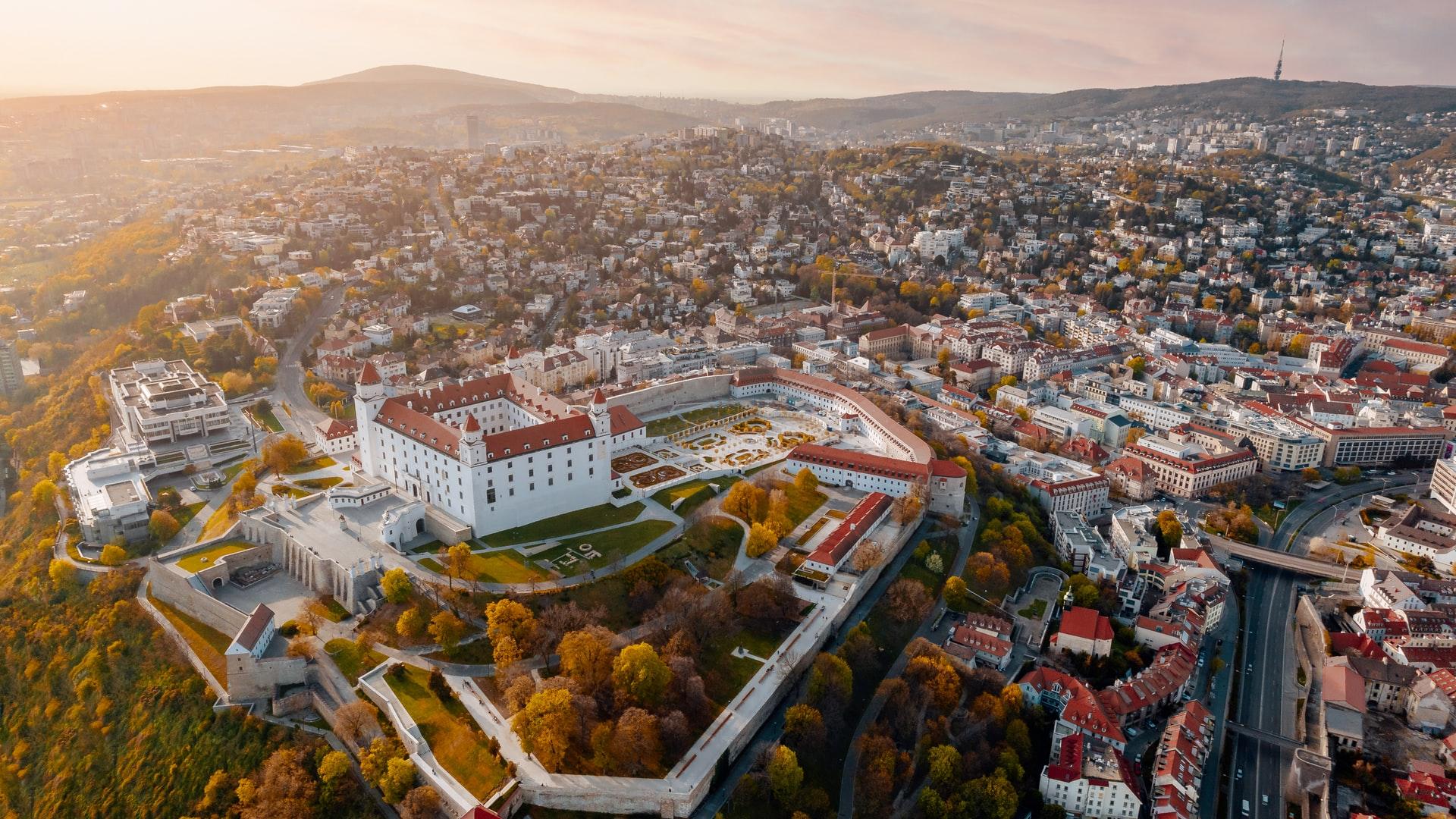 Die Stadt Bratislava aus der Vogelperspektive